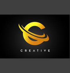 Golden letter c logo c letter design with golden vector