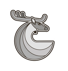 grey deer round icon vector image