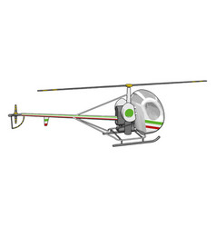 grey helicopter with green and red stripes on vector image
