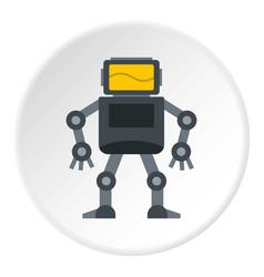 Grey robot with monitor head icon circle vector