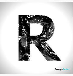 grunge letter r black font sketch style symbol vector image