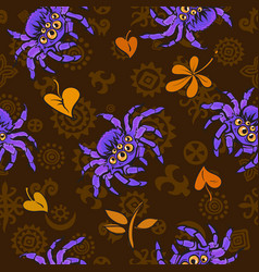 halloween seamless pattern with purple gigantic vector image