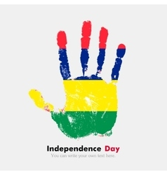 Handprint with the Flag of Mauritius in grunge vector image
