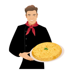 handsome spanish chef holding a plate of typical vector image