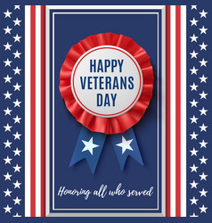 Happy veterans day badge vector