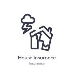 House insurance for storms outline icon isolated vector