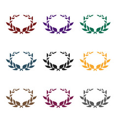 laurel wreath icon in black style isolated on vector image