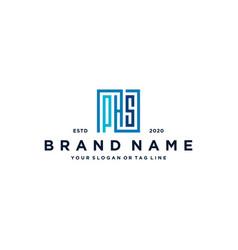 Letter phs square logo design vector
