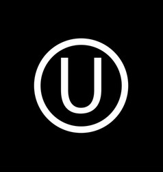 Letter u in a circle sign the hechsher or kosher vector