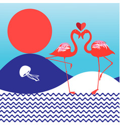 lovers red flamingo vector image