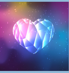 Low poly crystal heart vector