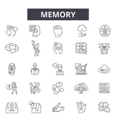 Memory line icons signs set linear vector