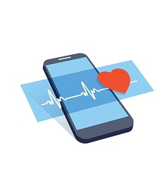 mobile heart control vector image