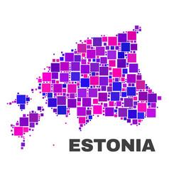 mosaic estonia map of square elements vector image