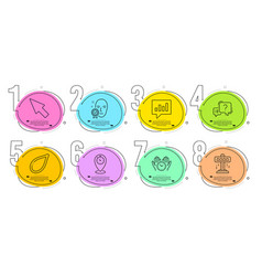Mouse cursor safe time and analytical chat icons vector
