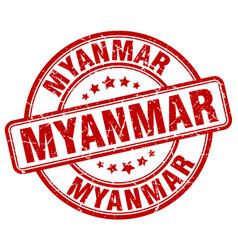 Myanmar red grunge round vintage rubber stamp vector