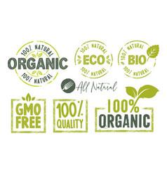 Organic food stickers vector