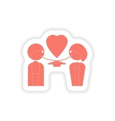 Paper sticker on white background lovers eating vector