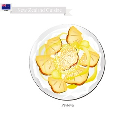 Pavlova Meringue Cake With Pineapple New Zealand vector