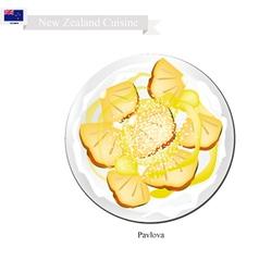Pavlova meringue cake with pineapple new zealand vector