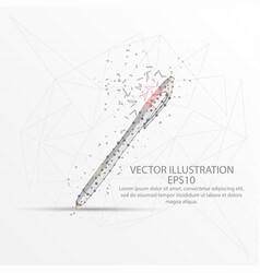pen low poly wire frame on white background vector image