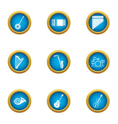 Philharmonic icons set flat style vector