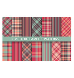 plaid pattern seamless ornate set pastel color vector image