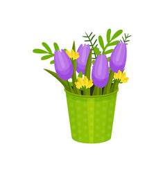 purple tulips and wild yellow flowers in green vector image
