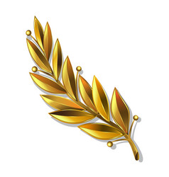 realistic drawing golden laurel branch vector image