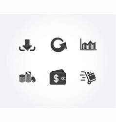 reload download and money diagram icons banking vector image