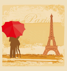 Romantic couple tourists in paris abstract vector
