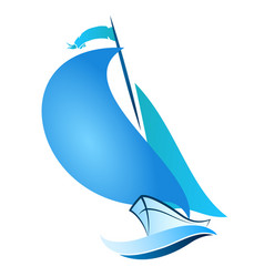sailboat floats on the wave vector image