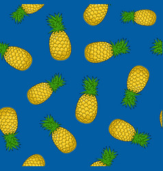 Seamless pattern pineapple on blue background vector
