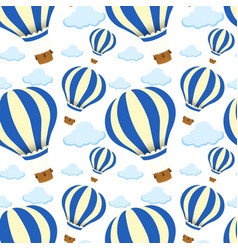 Seamless pattern tile cartoon with hot air balloon vector