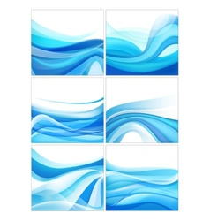 Set abstract blue wavy water stream vector