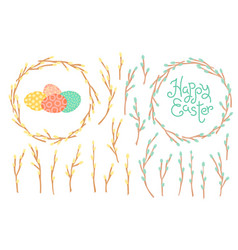 set festive decorations for happy easter vector image