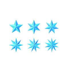 Set of beautiful faceted shiny light blue stars vector
