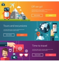 Set of flat design flyers and headers with travel vector
