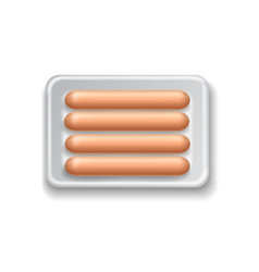 Supermarket packaged pork sausages isolated vector