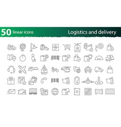 thin line logistics and delivery set vector image