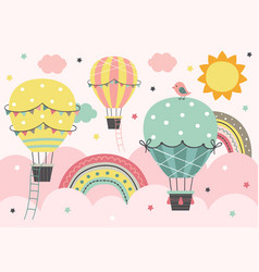 Three colorful hot air balloon fly in pink sky vector