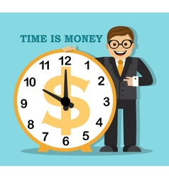 Time is money Do not waste your time earn money vector