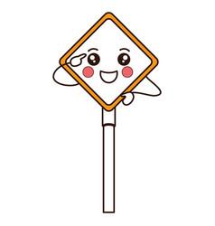 traffic signal kawaii character vector image