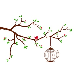 Tree Branch with rounded bird cage vector image