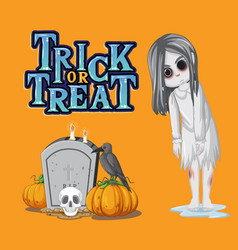 Trick or treat text logo with ghost girl vector