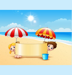 two kids in the beach holding empty signboard vector image