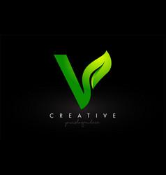 V leaf letter logo icon design in green colors vector