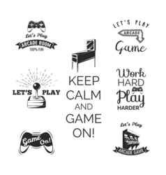 Video games labels set Arcade game room Let s play vector