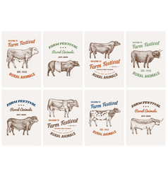 vintage cards farm cattle bulls and cows vector image
