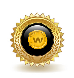 wax cryptocurrency coin gold badge vector image